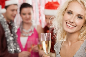 Woman enjoying herself at a holiday party