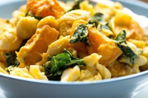 Smoky Butternut Squash Sauce with Greens and Pasta