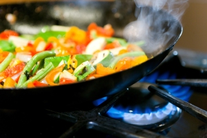 Healthy cooking in a wok