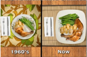 Portions of plates 1960s and now.