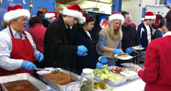Christmas dinner at a shelter.