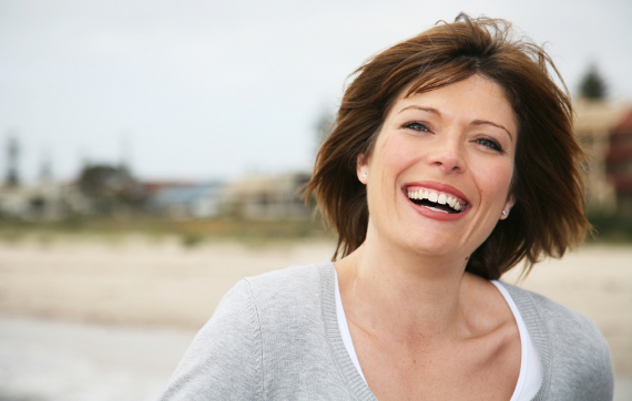 Mature smiling woman.